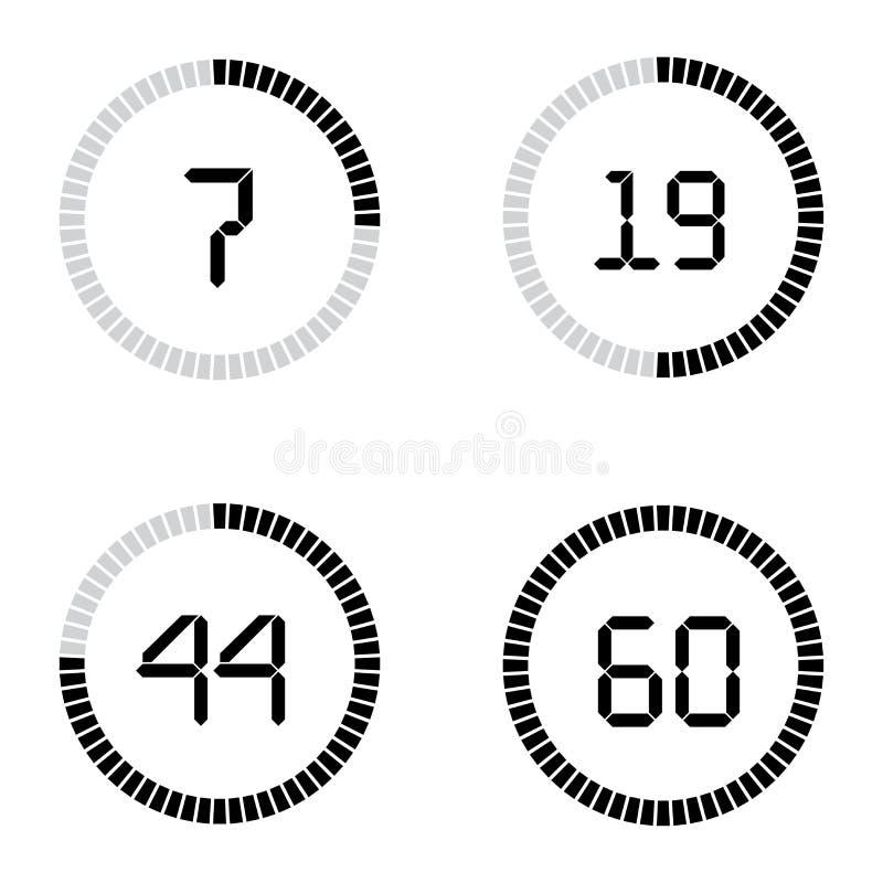 Bakgrund för tidmätare för digital klocka för nedräkningvektormall för att komma royaltyfri illustrationer