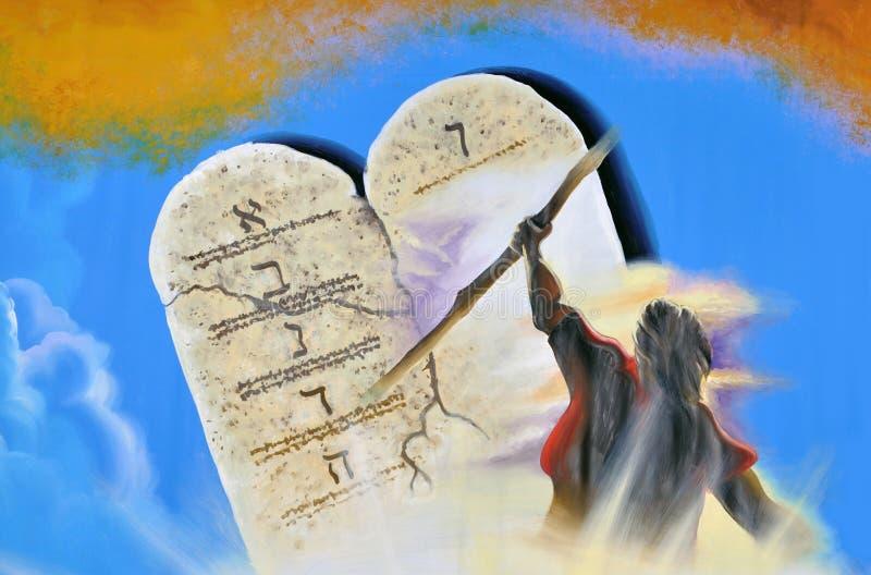 Bakgrund för tio commandments vektor illustrationer
