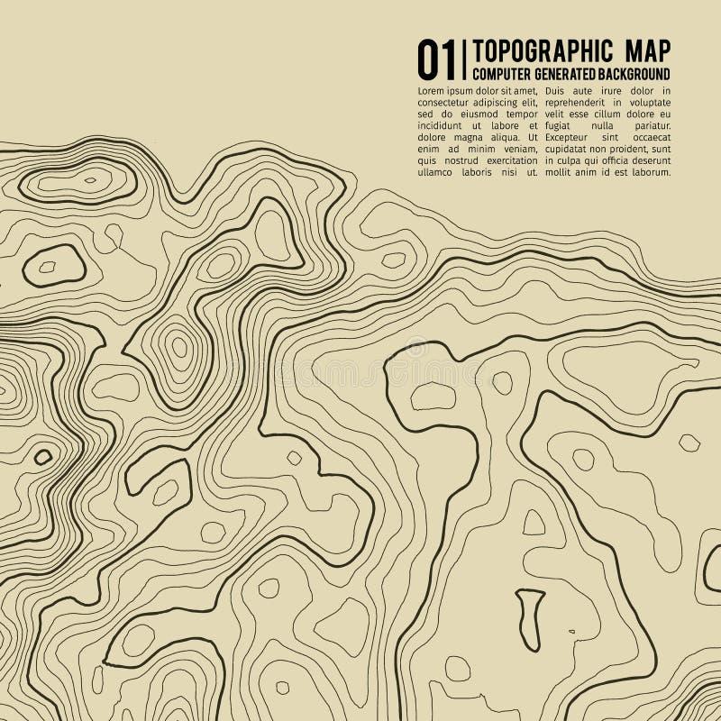 Bakgrund för Topographic översikt med utrymme för kopia Linje bakgrund för topografiöversiktskontur, geografiskt rasterabstrakt b royaltyfri illustrationer