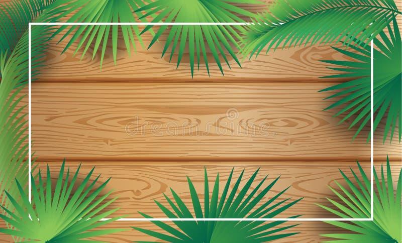 Bakgrund för trä för ram för Sukkot palmblad tropisk vektor illustrationer