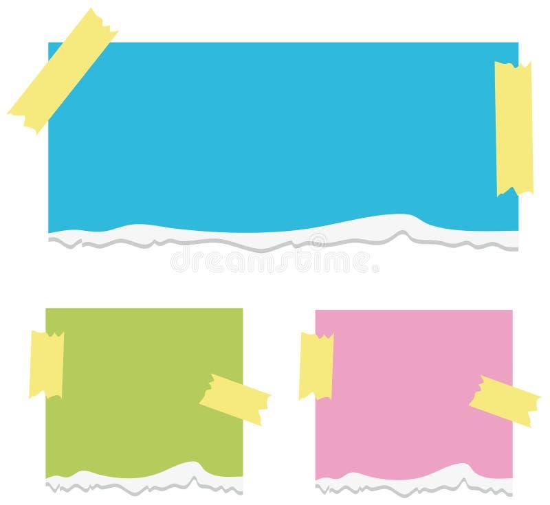 Bakgrund för tre legitimationshandlingar med tejpat på dem royaltyfri illustrationer