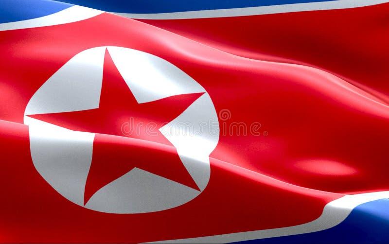 Bakgrund för tyg för textur för Nordkoreaflaggan bombarderar vinkande, krisen av norden och Sydkorean, den kärn- koreanska risken royaltyfri fotografi