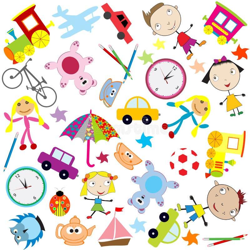 Bakgrund för ungar med den olika sorten av leksaker royaltyfri illustrationer