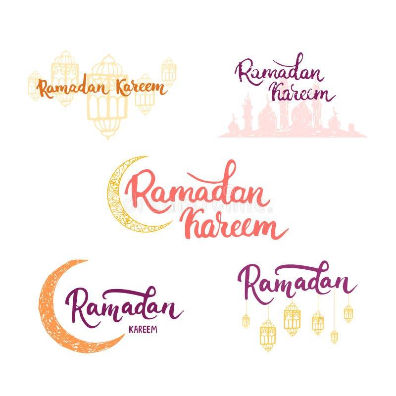 Bakgrund för uppsättning för Ramadan Kareem hälsningkort med månen, lyktor, bokstäver och moskén Vektorillustration för Ramadan royaltyfri illustrationer