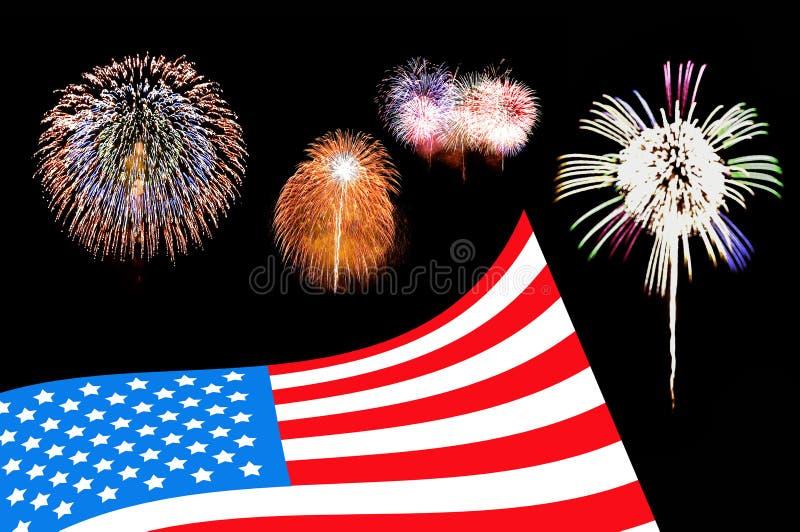 Bakgrund för USA flaggafyrverkeri royaltyfri bild