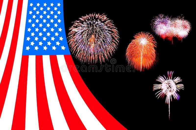 Bakgrund för USA flaggafyrverkeri arkivfoto