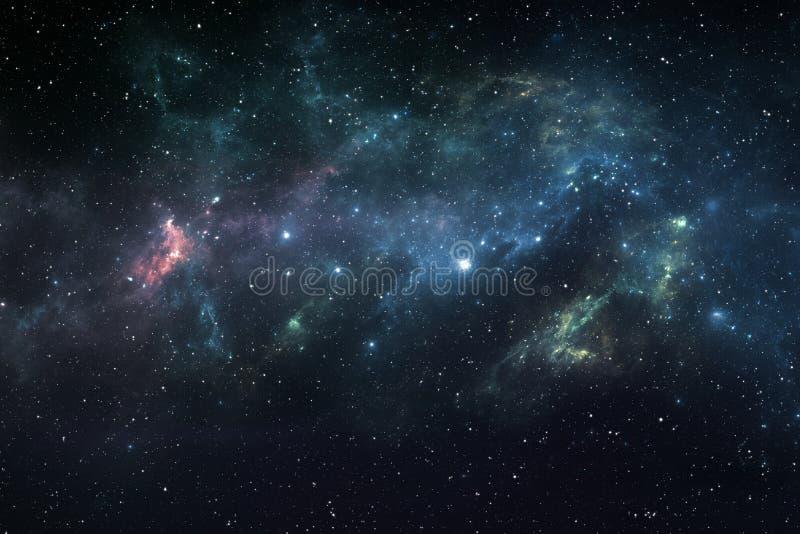 Bakgrund för utrymme för himmel för stjärnklar natt med nebulosan