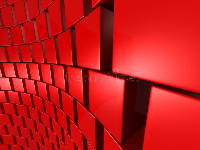 Bakgrund för vägg för röda kubkvarter abstrakt royaltyfri illustrationer
