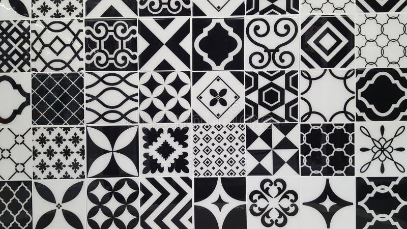 Bakgrund för vägg för keramiska tegelplattor för textur för keramisk tegelplatta för tappning svartvit turkisk royaltyfri bild