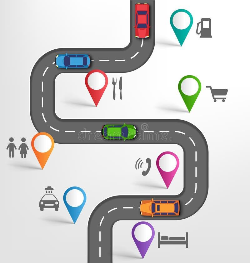 Bakgrund för vägInfographic lopp med pekareStopoversfläckar royaltyfri bild