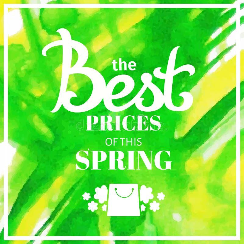 Bakgrund för vårförsäljningssuddighet med att märka de bästa priserna av denna vår Yel för gräsplan för mall för vektorillustrati stock illustrationer