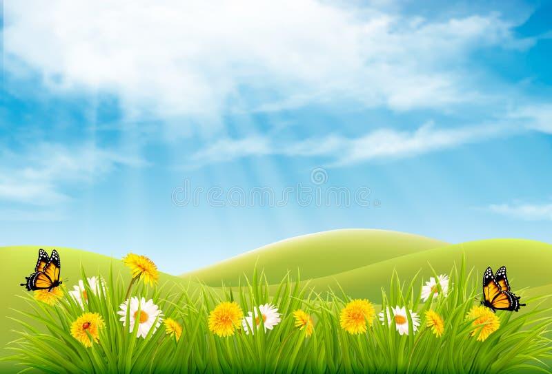 Bakgrund för vårnaturlandskap med blommor stock illustrationer