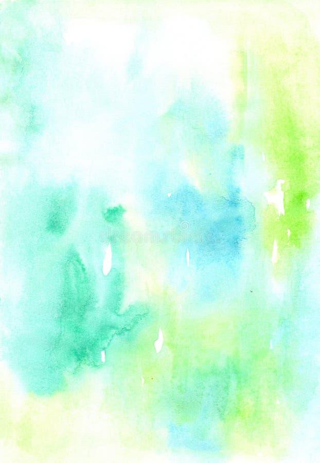 Bakgrund för våt målning för akvarellblått- och gräsplanslöjd planlägger färgrik Trevlig bild eller bakgrund Livlig illustration vektor illustrationer