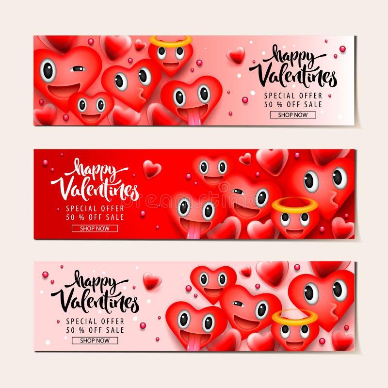 Bakgrund för valentindagförsäljning med hjärtaemoticons, smiley framsidor för emoji, vektorillustration Tapet reklamblad vektor illustrationer