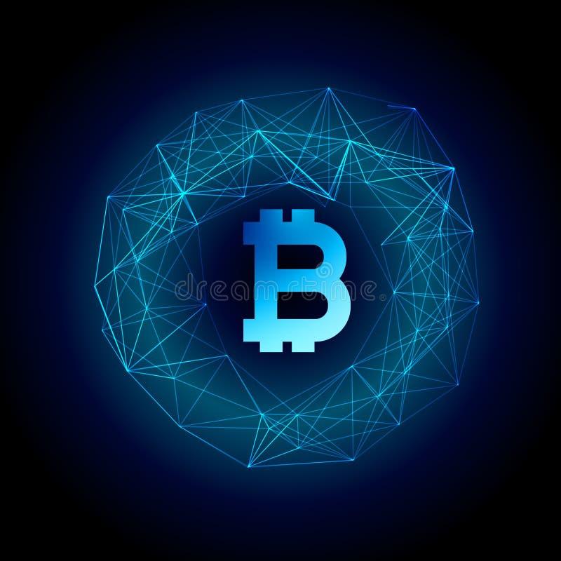 Bakgrund för valuta för Techno stilbitcoin vektor illustrationer