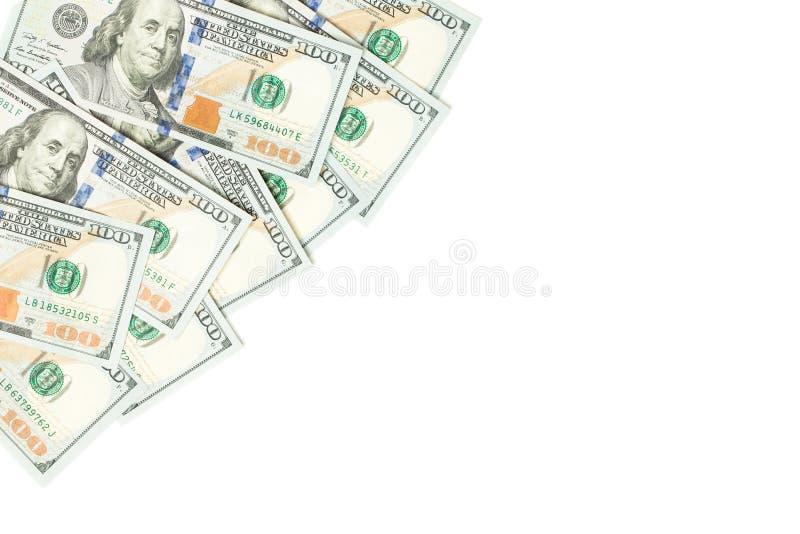 Bakgrund för valuta för US dollarpengarkassa Amerikanska dollar 100 sedelgräns på vit fotografering för bildbyråer