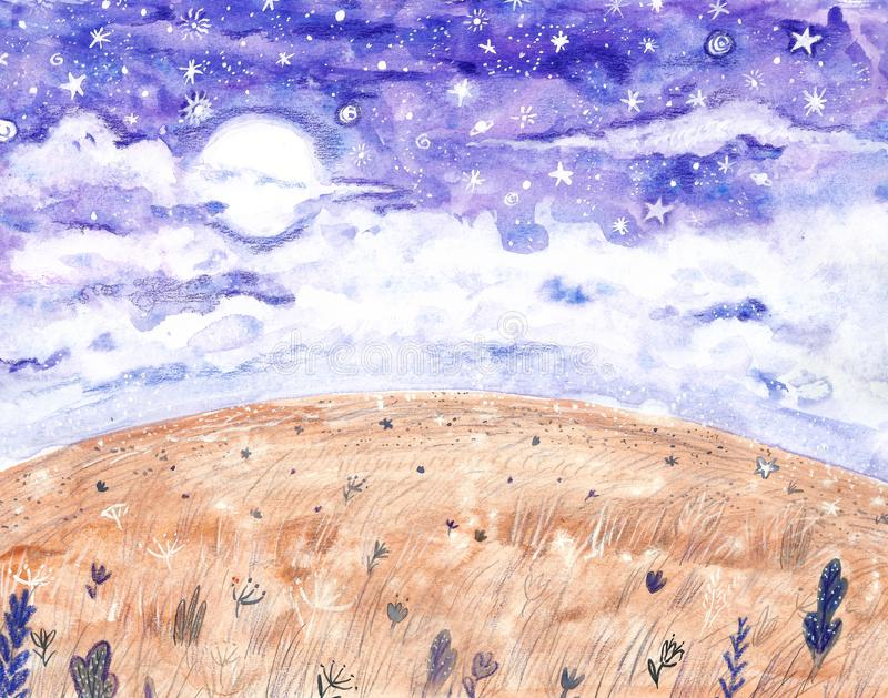 Bakgrund för vattenfärgnatthimmel med fullmånen och stjärnor Utdragen stjärnklar himmelillustration för hand stock illustrationer