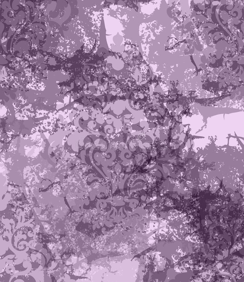 Bakgrund för vektor för damast prydnad för tappning ribbad Stilfulla modeller med fläckdekoren Moderiktiga violetfärger stock illustrationer