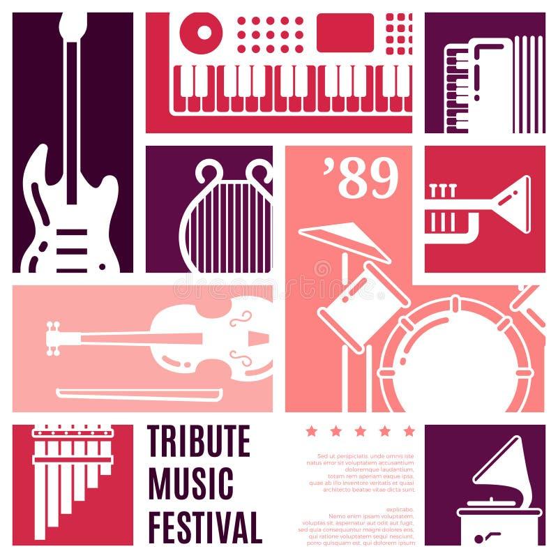 Bakgrund för vektor för abstrakt begrepp för musikfestival stock illustrationer