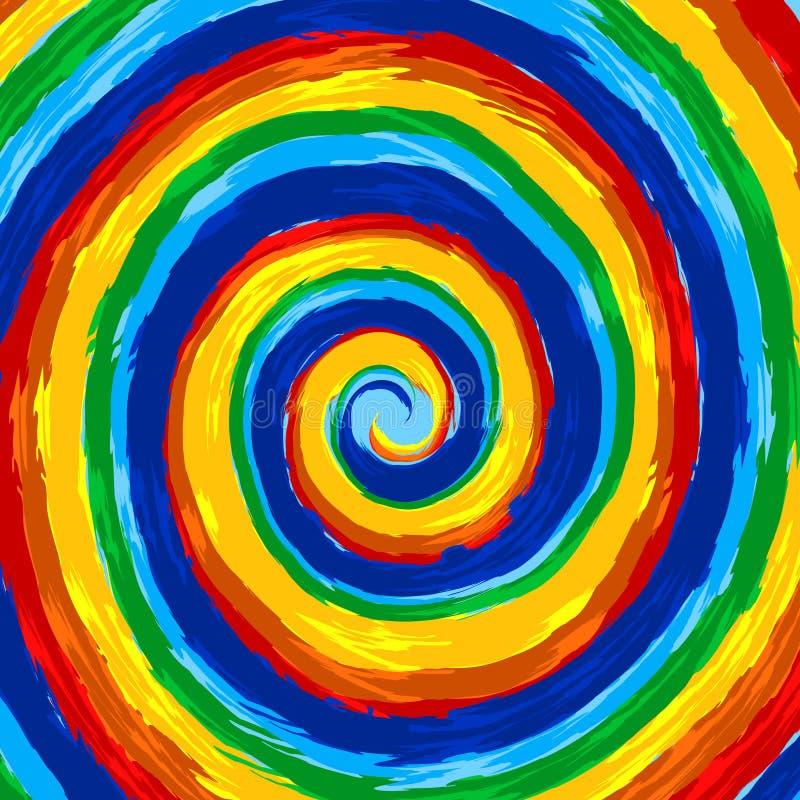 Bakgrund för vektor för swirl för konstregnbågeabstrakt begrepp stock illustrationer