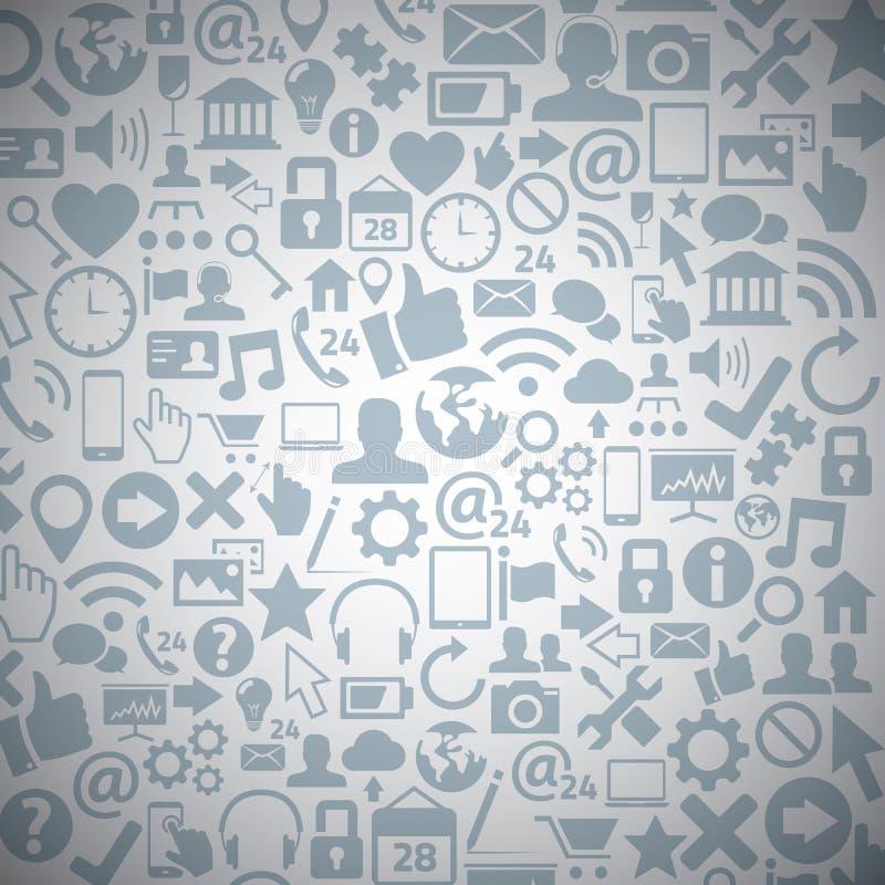 Bakgrund för vektor för symboler för Socia massmediarengöringsduk stock illustrationer