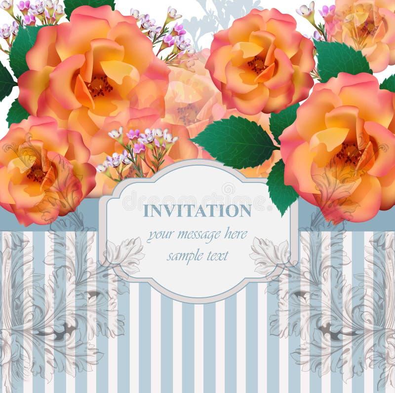 Bakgrund för vektor för kort för tappningrosblommor Romantisk illustration för inbjudan- och hälsningkortdesigner stock illustrationer