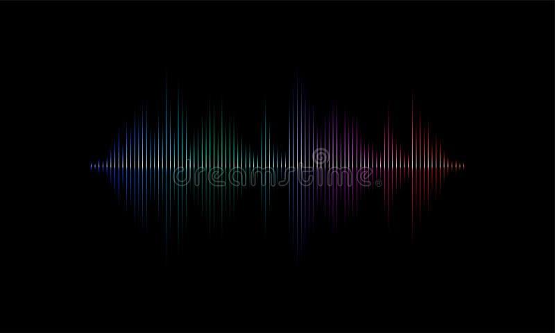 Bakgrund för vektor för ljus våg för solid radio ljudsignal vektor illustrationer