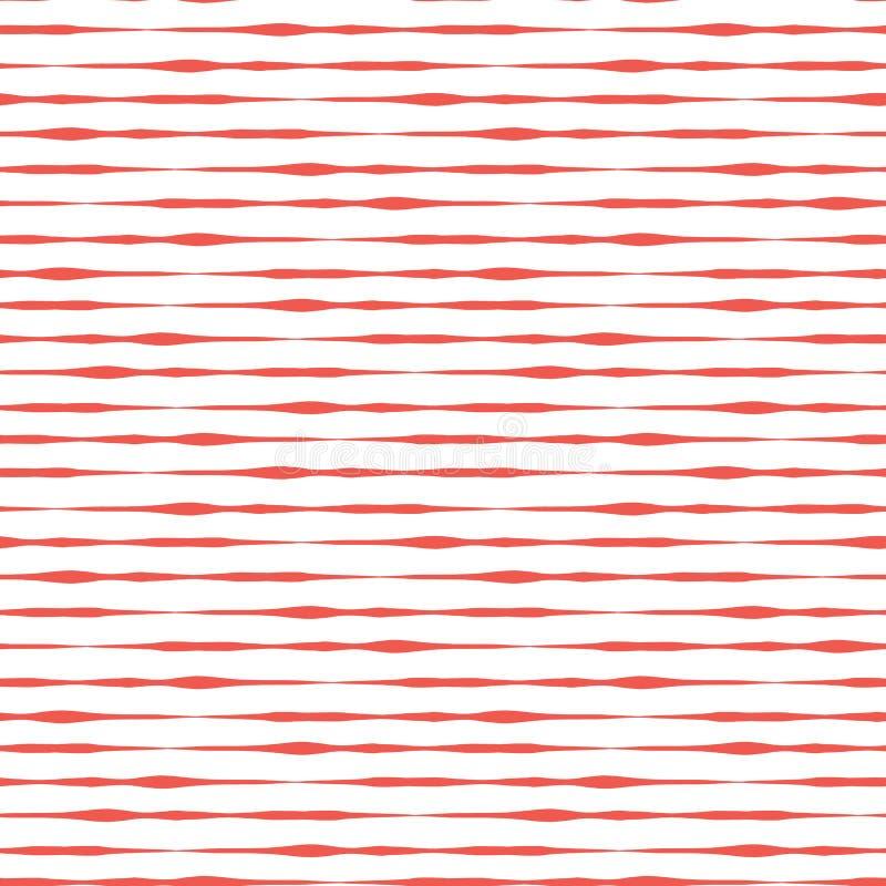 Bakgrund för vektor för röda band för hand utdragna horisontalsömlös royaltyfri illustrationer