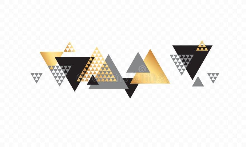 Bakgrund för vektor för triangelgeometriabstrakt begrepp guld- royaltyfri illustrationer