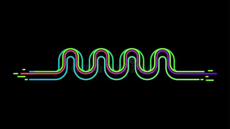 Bakgrund för vektor för utjämnare för solid våg för neon stock illustrationer