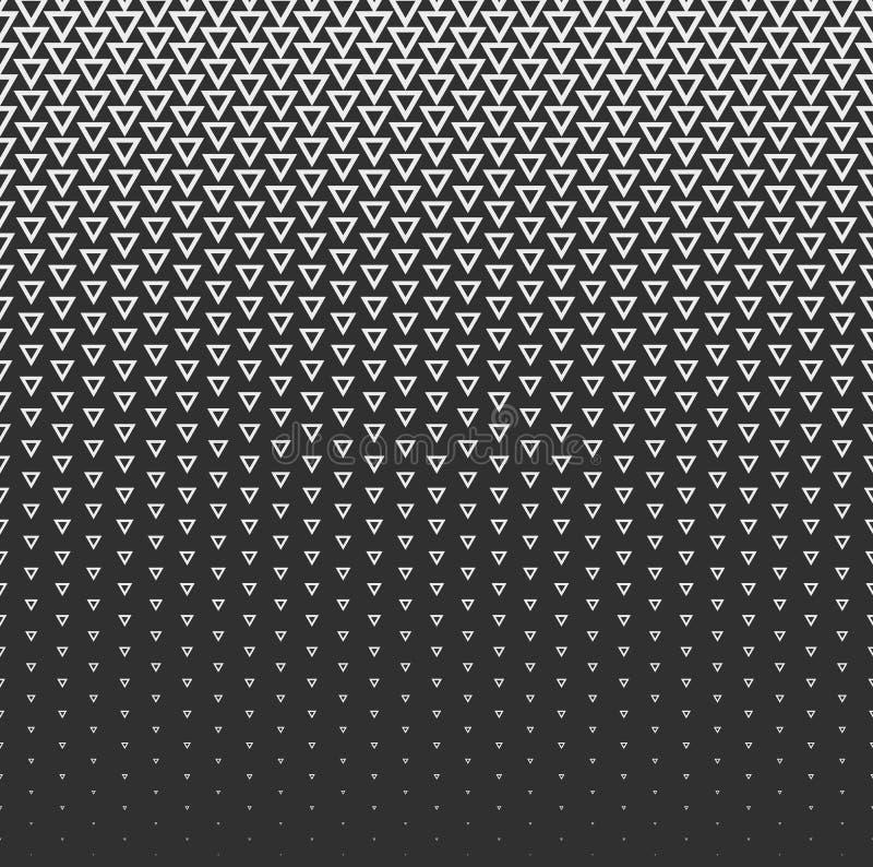 Bakgrund för vektorhalvtonabstrakt begrepp, svart vit lutninggradering Den geometriska mosaiktriangeln formar den monokromma mode royaltyfri illustrationer