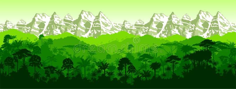 Bakgrund för vektorhorisontalsömlös tropisk rainforestberg royaltyfri illustrationer