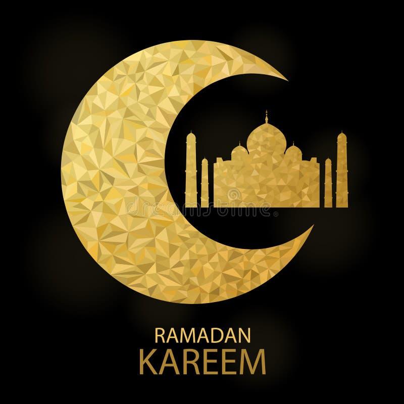 Bakgrund för vektormåne- och moskéblixttriangel med Ramadan Kareem Greetings royaltyfri illustrationer