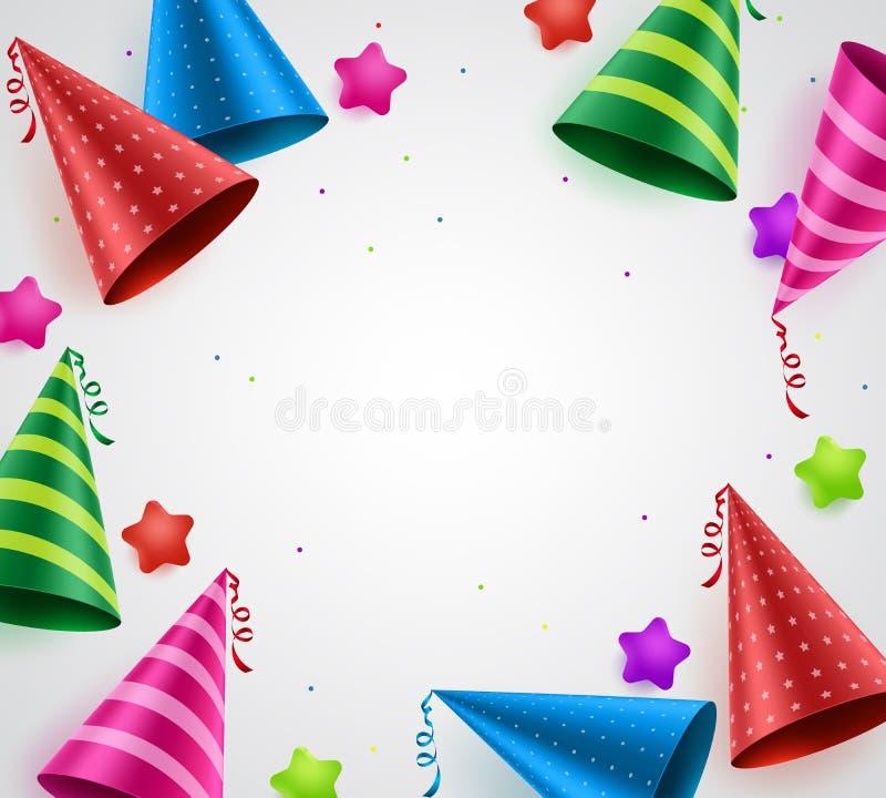 Bakgrund för vektorn för beröm för födelsedagpartiet med vitt tömmer utrymme royaltyfri illustrationer