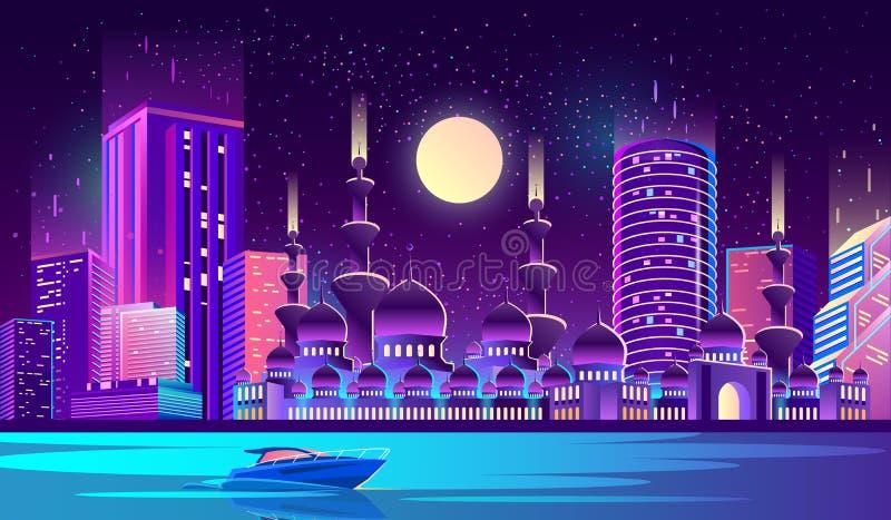 Bakgrund för vektornattstad med den muslim moskén royaltyfri illustrationer