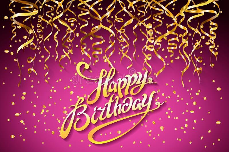 Bakgrund för vektorrosa färgparti Berömdesign för lycklig födelsedag, guld- konfettibeståndsdelar för vektor, lilor Colo för mall royaltyfri illustrationer