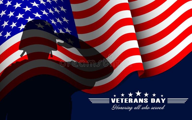 Bakgrund för vektorveterandag med att salutera soldaten, USA-nationsflaggan och att märka Mall för veterandag royaltyfri illustrationer