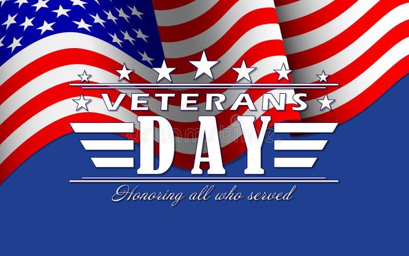 Bakgrund för vektorveterandag med stjärnor, USA flaggan och bokstäver Mall för veterandag vektor illustrationer