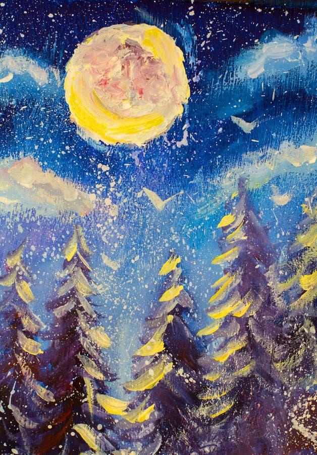 Bakgrund för vinterfeblått Skog av prydliga träd snowing Den stora månen är glänsande original- olje- målning impressionism konst royaltyfri illustrationer
