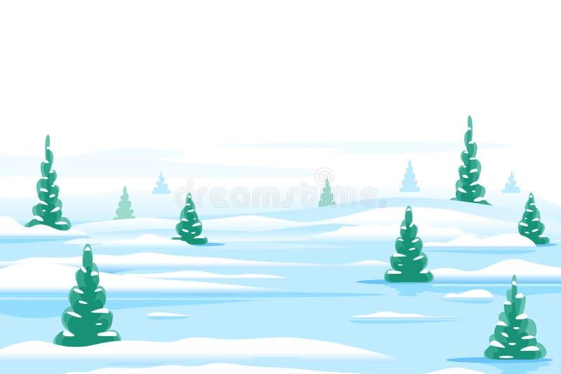 Bakgrund för vinternaturlandskap royaltyfri illustrationer