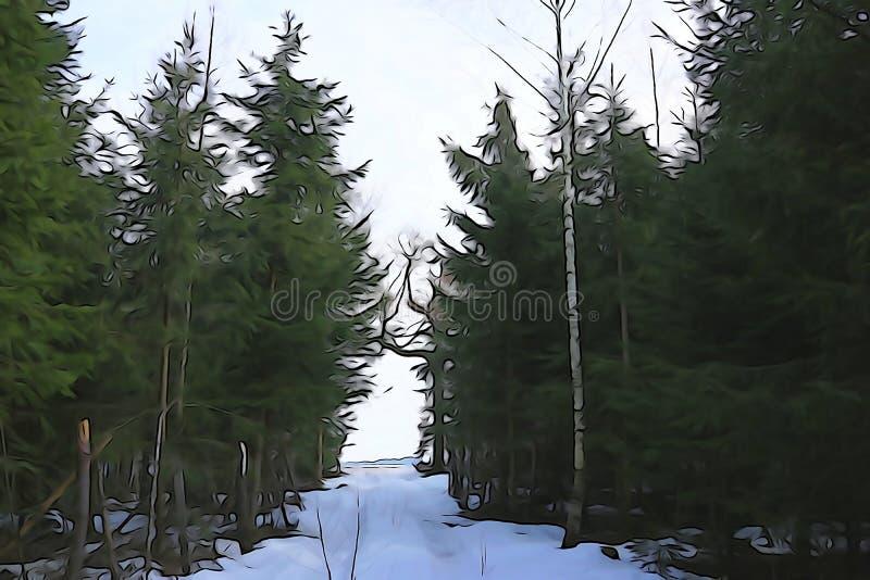 Bakgrund för vintersäsongen: snötäckt skogsspår i skog arkivfoto