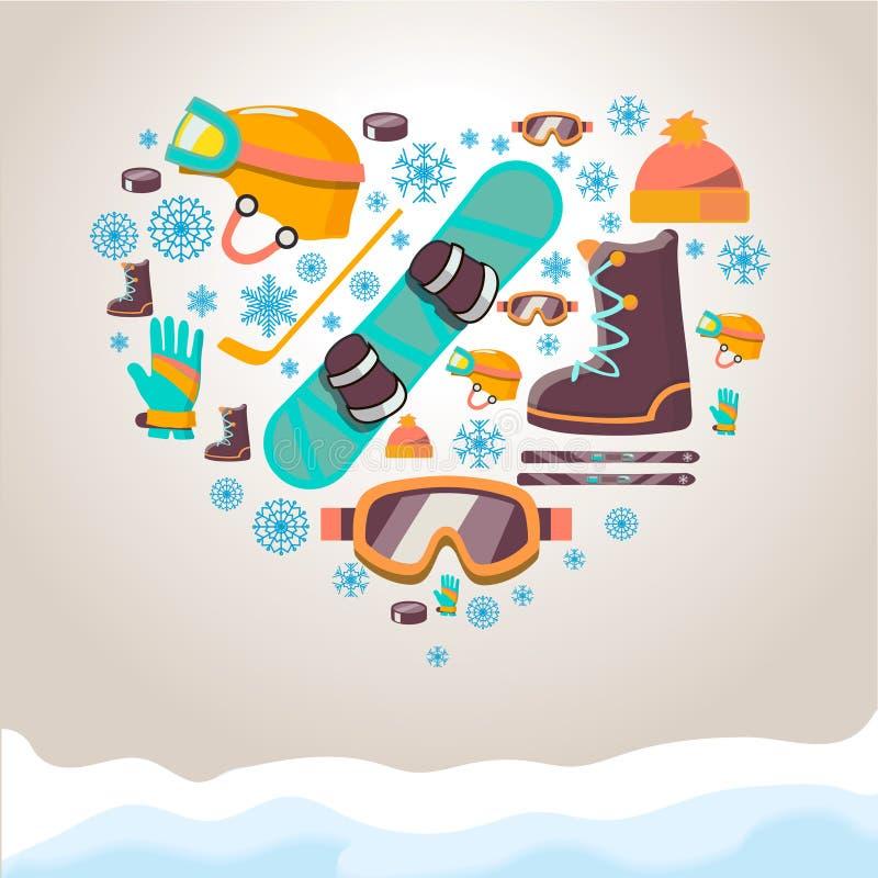 Bakgrund för vintersportutrustning vektor illustrationer