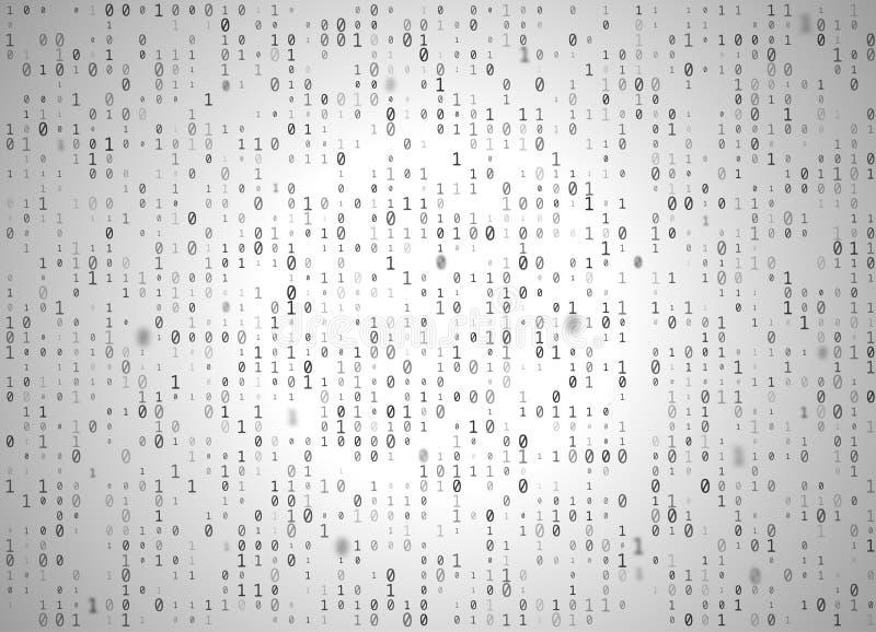Bakgrund för vit för binär kod för vektor Stor data och programmeradataintrång, decryption och kryptering, dator som strömmar sva vektor illustrationer