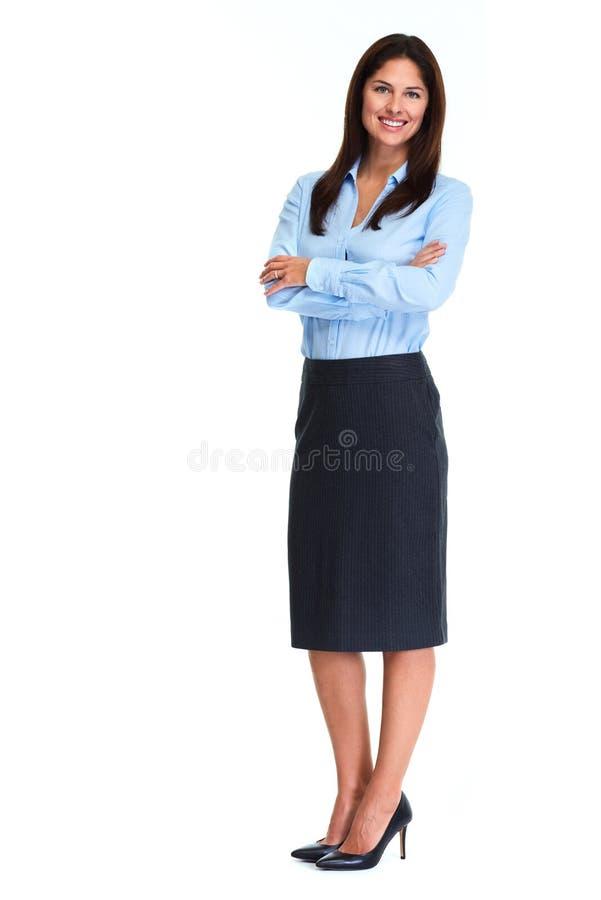 Bakgrund för vit för affärskvinna royaltyfria foton