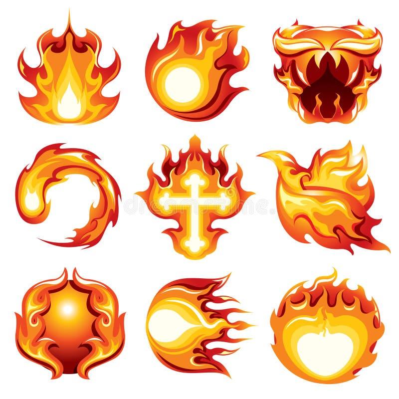 Bakgrund för vit för symbol för brandboll royaltyfria foton