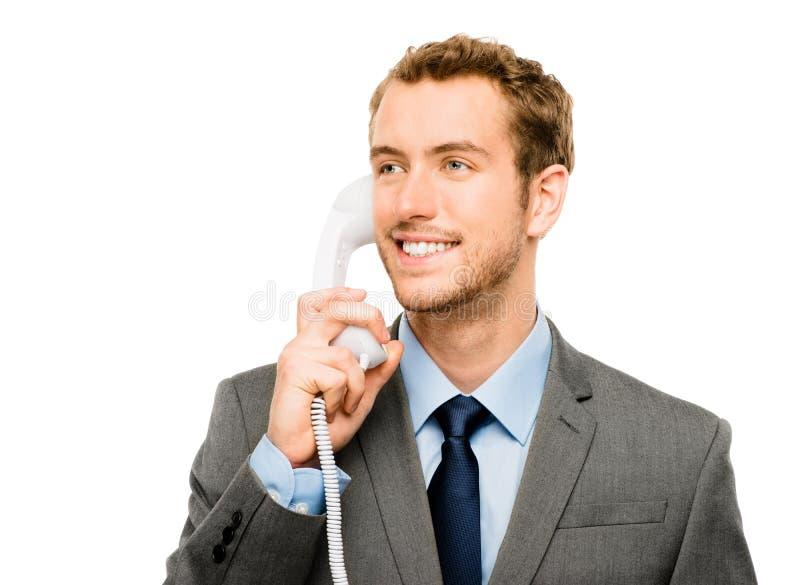 Bakgrund för vit för telefon för kundtjänstmedelinnehav royaltyfria foton