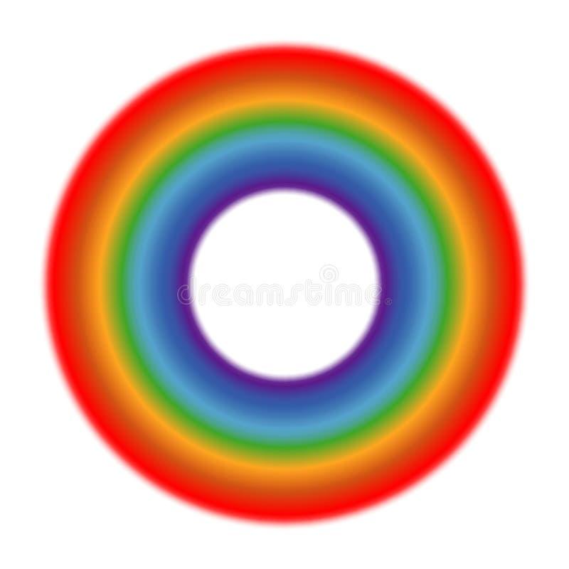 Bakgrund för vit för vektorcirkelregnbåge vektor illustrationer