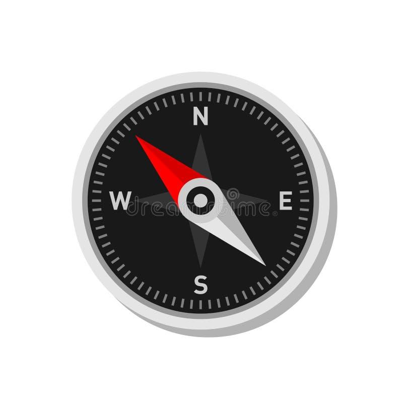Bakgrund för vit för kompasssymbolsom Plan stilvektor stock illustrationer
