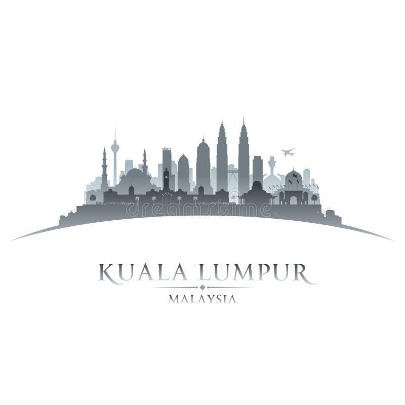 Bakgrund för vit för kontur för Kuala Lumpur Malaysia stadshorisont stock illustrationer