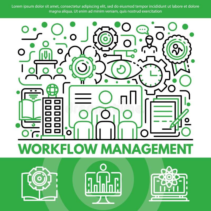 Bakgrund för Workflowledningbegrepp, översiktsstil royaltyfri illustrationer